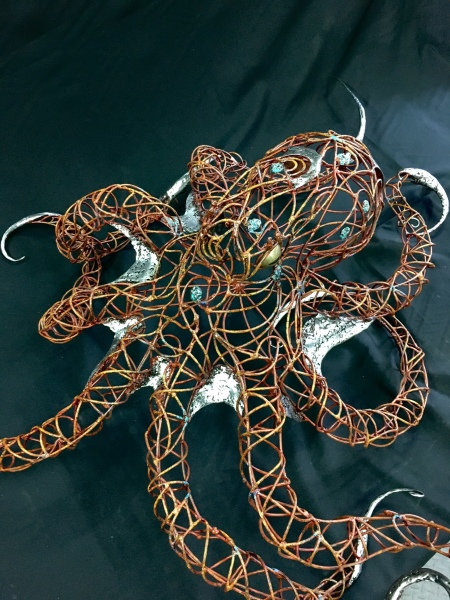 Octopus sculpture, steel wire and paint, top view
