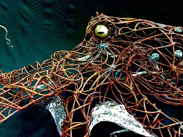 Octopus, sculpture, underwater art work by Rusty Croft, Carmel California