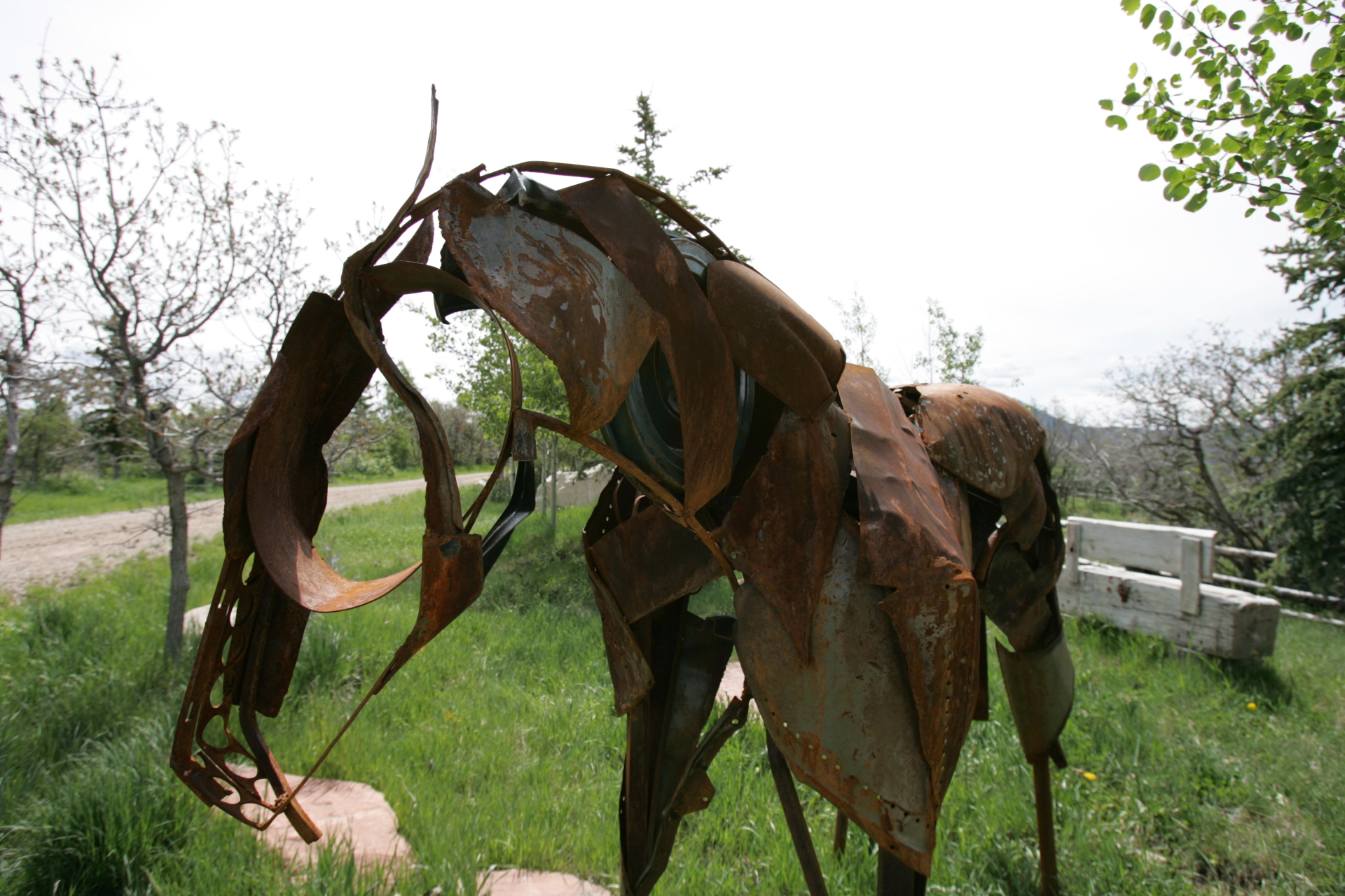 Life size horse sculpture, recycled steel, Rusty Croft, Carmel California